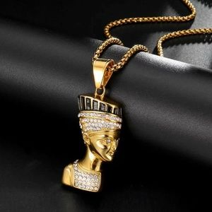 Other - 14k Gold Nefertiti Egyptian Queen Pendant Necklace
